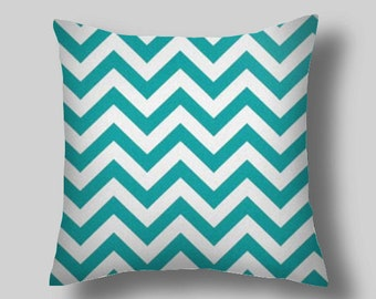Blue Pillow Cover,Turquoise Throw Pillows, Ghevron TRUE TURQUOISE, Decorative  Pillow Covers,Size 18 x 18 16 20 Euro