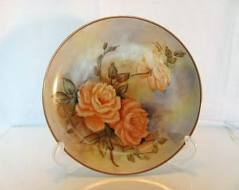Yellow Rose Decorative Plate / Hand Painted Yellow Roses /  Signed by Artist Decorative Plate
