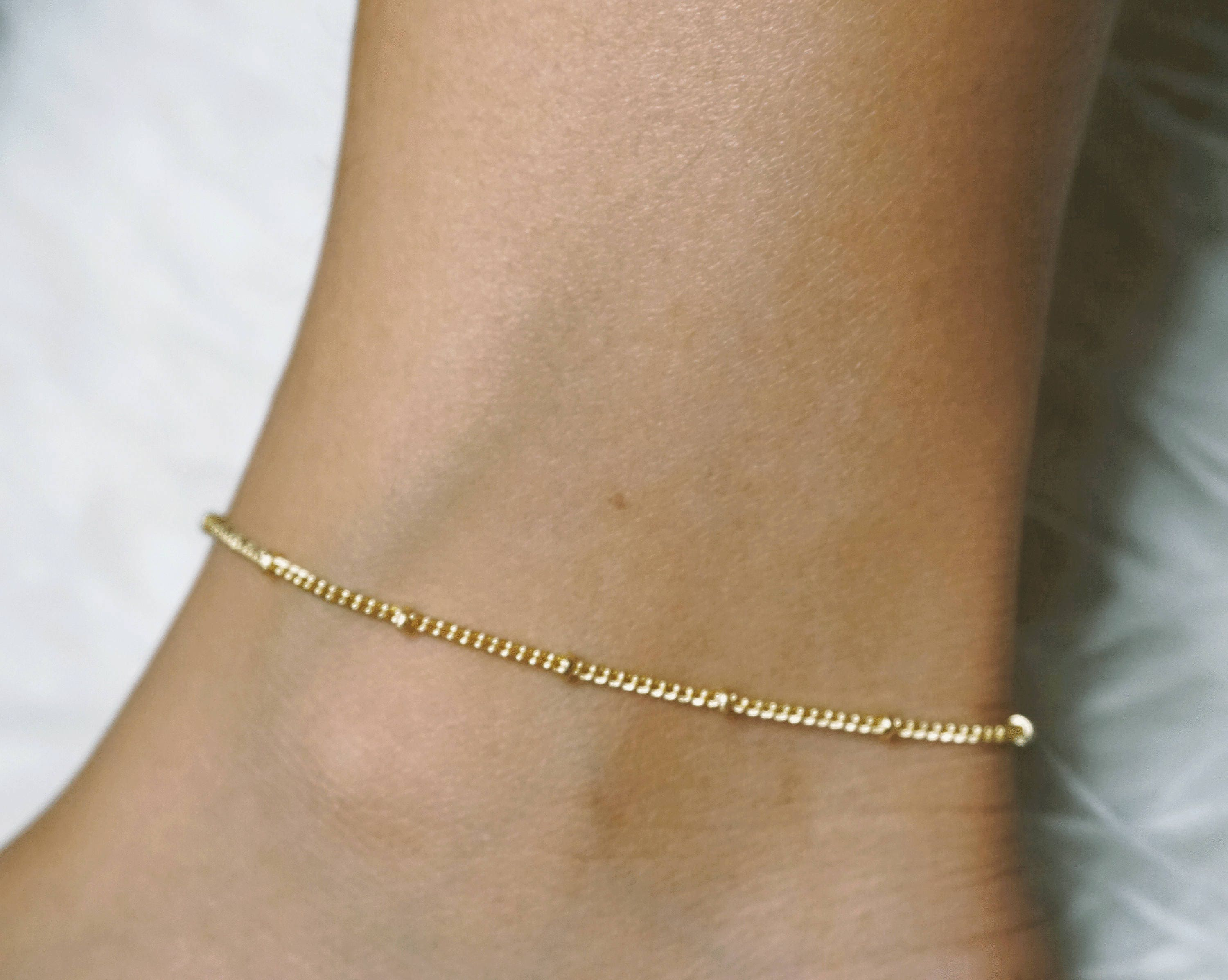il gold wax with listing anklet lucky wire charms bracelet bracelets golden ankle fullxfull