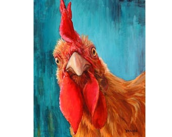 Rooster Farm Animal Art Print by Dottie Dracos, Gold Rooster, roosters, chickens, kitchen, rooster art, rooster painting, rooster print