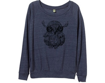 New! Womens cute owl Sweater  - Womens Owl Sweatshirt  - Small, Medium, Large, Extra Large (3 Color Options)