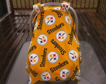 Black and Yellow Pittsburgh Football, Pittsburgh Sports Infant Car Seat Cover; Car seat canopy; baby car seat cover; attachable baby blanket
