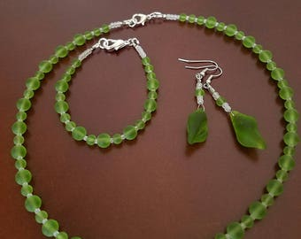 Forest Green Sea Glass Jewelry Set