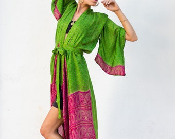 Green Vintage Silk Sari Maxi Kimono - Green with pink accent
