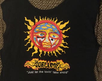 """This is tote bag . Made from a repurposed """"Sublime"""" tee"""