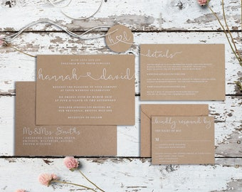 Krafted Union Wedding Invitation Set - Rustic White Ink Wedding Invitations - Sample Pack or Deposit - Wedding Invitations by Pineapple