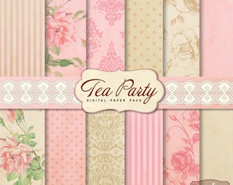 12 Shabby Chic Tea Party Digital Scrapbook Papers. For invites card making digital scrapbooking