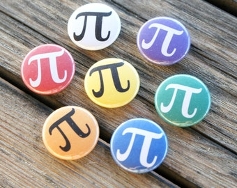 """Colorful Pi Math 1"""" Pinback Button 