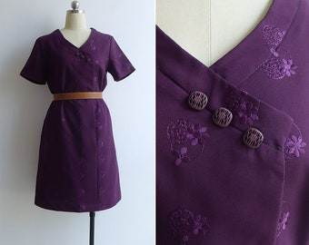 Vintage 70's Royal Purple Embroidered Cheongsam Style Shift Dress M or L