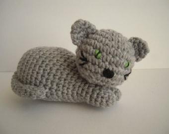 Crocheted Handmade Stuffed Amigurumi Cat/Kitten Grey