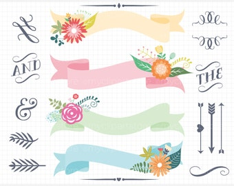 Ribbon Banners - Pastel Floral Ribbons / Banners - Digital Clip Art (Instant Download)