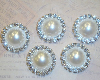 5 pcs - 20mm Silver Metal OFF WHITE Pearl Crystal Rhinestone Buttons Embellishments - wedding / hair / Flower Center