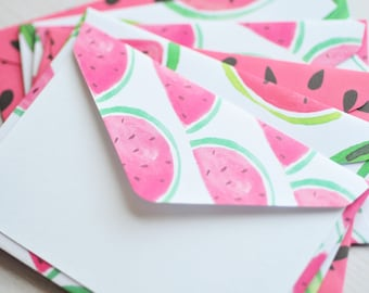 Watermelon Mini Cards // Set of 6 // Blank Cards // Gift Card Envelopes // Enclosure Cards // Summertime Cards // Love Notes