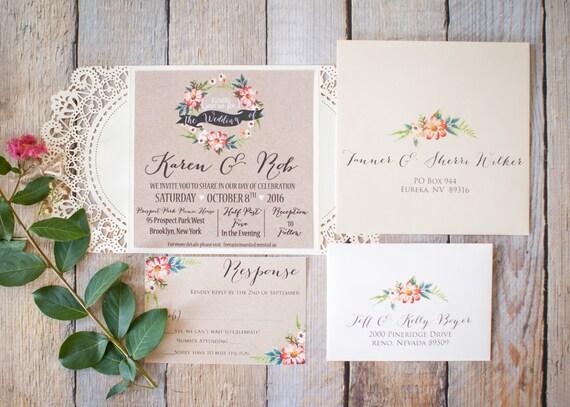 Boho Chic Wedding Invitations: Boho Chic Wedding Invitation. Boho Floral Wedding Invitation