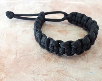 Black bracelet Jewelry girl Bracelet paracord Tin Gift girlfriend Adjustable bracelet Cobra Handmade bracelet friendship Survival bracelet
