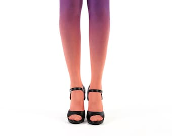 Ombre tights salmon - purple gradient tights