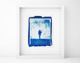 Cyanotype, Bagpipe Player, Large Wall Art, Large, Portrait, Original, Home, Large art cheap, Shabby Chic, Musician, Photography, Art, SALE