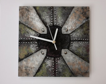 STEAMPUNK CLOCK, Man Cave decor, metallic colors, gift for men, unique wall clock, hand painted, steampunk wall clock