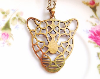 Vintage Style Tiger Head Necklace. Tiger Face. Brass. Long Necklace. Brass Chain. Safari. Jungle. Wildlife. Under 10. Lion. Antique Gold
