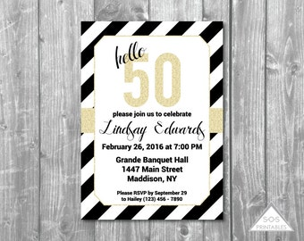 Fiftieth Birthday Invitation, Hello 50 Invitation, Black and White Party, fifty, gold 50th, milestone birthday, Printable Invitation