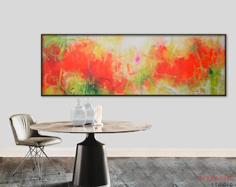 "Original abstract orange painting extra Large 72""  orange red green yellow painting Long horizontal art Modern minimalist wall decor"