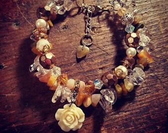 Quartz and Golden Jade Floral Layered Bracelet