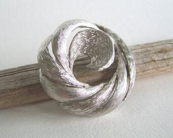 Vintage Silver Swirl Circle Brooch Modern