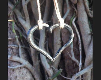 Hand forged heart necklace pendant