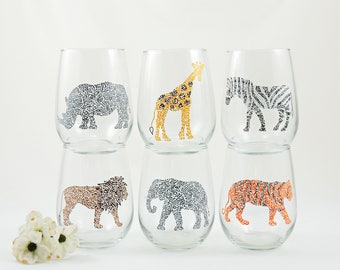 Lion Rhino Giraffe Elephant Tiger Zebra glass, Safari gift, Wildlife lover, Jungle animal, Hand painted stemless wine glass