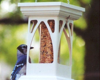 Hanging birdfeeder Bird Feeder vinyl - Gothic Tube Feeder - Functional Garden Decoration - Made in USA EZ fill EZ clean no assembly required