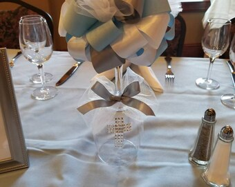 Ribbon Topiary on a Wine Glass Christening, Baptism, Confirmation, First Communion or any other special event