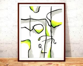 Abstract Art Print, Yellow Green and Black, Wall Art, Printable Digital Download, Modern Art, Art Print, Home Decor, Nursery Art