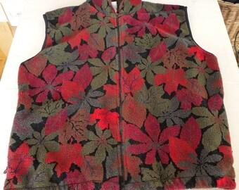 Duffe Outdoor fleece vest M cranberry loden green leaves fall vintage sportware polar