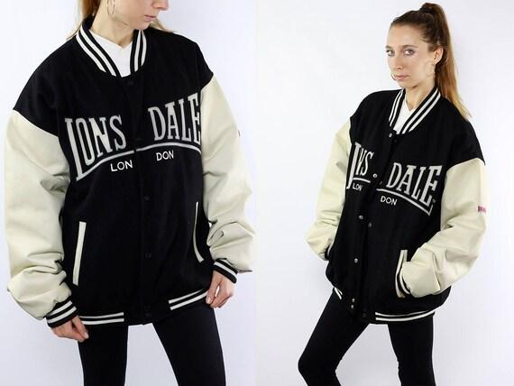 Lonsdale Jacket / Black Bomber Jacket / 90s Bomber Jacket / Winter Bomber Jacket / Lonsdale Vintage / Lonsdale College Jacket / Bomberjacket
