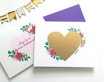 Werden Sie mein Junior Brautjungfer Scratch Off - Hochzeit Vorschlag Karte - abkratzen Maid Of Honor lila Blumen - Brautjungfer - Leidenschaft
