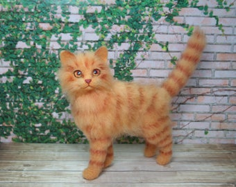 Orange Tabby Cat. Needle Felted Cat. Orange Cat. Fluffy Kitten. Cat Sculpture. Pet. Felted Animal. Made to Order.