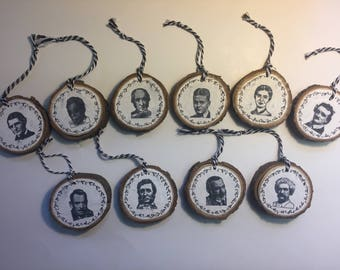 Famous Authors Wood Slice Ornament Set