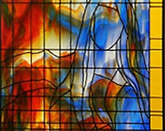 Mary The Virgin Mother of Christ Large Stained Glass Panel