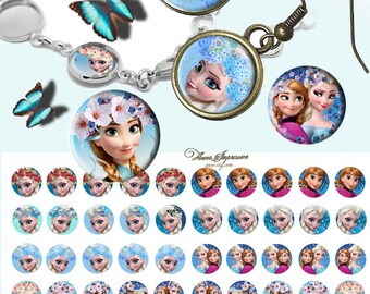 Frozen 12mm -  1/2 inch or 12 mm Images 4x6 Digital Collage INSTANT DOWNLOAD