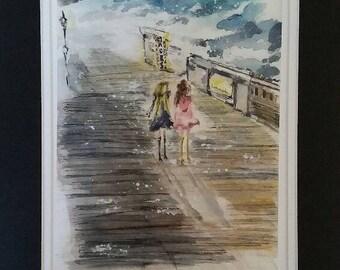 Walk Through Time Original Watercolor Print, Wall Art, Greeting cards