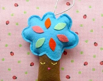 Felt Tree Ornament, Small Hanging Tree, Tree Decor, Christmas Tree Ornament, Hanging Ornament, Wee Hanging Treeling Ornament - BLUE COLOR