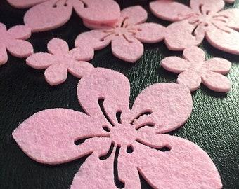 1,2 m Light Pink Flower Felt Ribbon