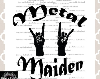 Metal Maiden SVG PNG JPG Digital File