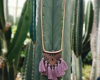 Boho Tassel Necklace, Tassel Necklace, Gypsy Tassel Necklace, Leather Necklace, Boho Necklace, Necklace, Necklace, Tassel