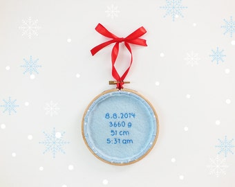 Baby's first Christmas ornament UPGRADE, Personalized holiday keepsake, baby birth stats ornament, custom baby ornament, holiday décor.
