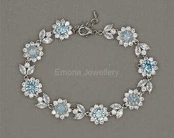 Blue Bridal Bracelet, Bridesmaid Gift, Blue Crystal Bracelet, Swarovski Bracelet, Something Blue, Aquamarine Bracelet, Blue Wedding Jewelry
