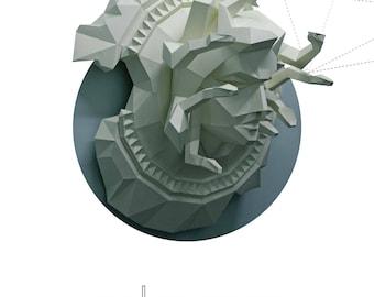 Papercraft etsy papercraft low poly medusa gorgon on the shield 3d paper antique sculpture diy gift decor for altavistaventures Choice Image