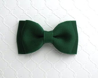 """School Uniform Forest Green Hair Bow ~ 3"""" Baby Toddler Girls Simple Classic Hair Bows"""