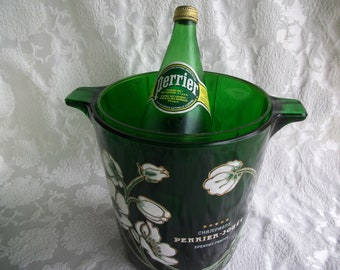 Perrier-Jouet Champagne Ice Bucket Green Glass With Original Liner Raised Flower Design