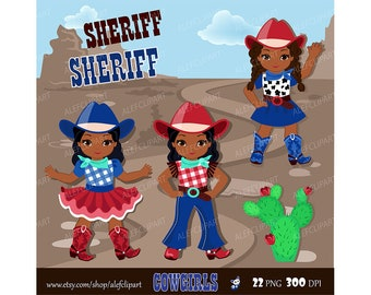 Cute Cowgirl Clipart Multicultural Red Blue / Personal and Commercial Use/ Instant Download Western Graphics